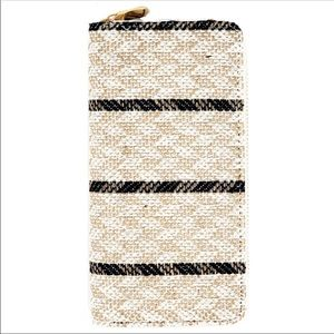 Striped woven accordion wallet